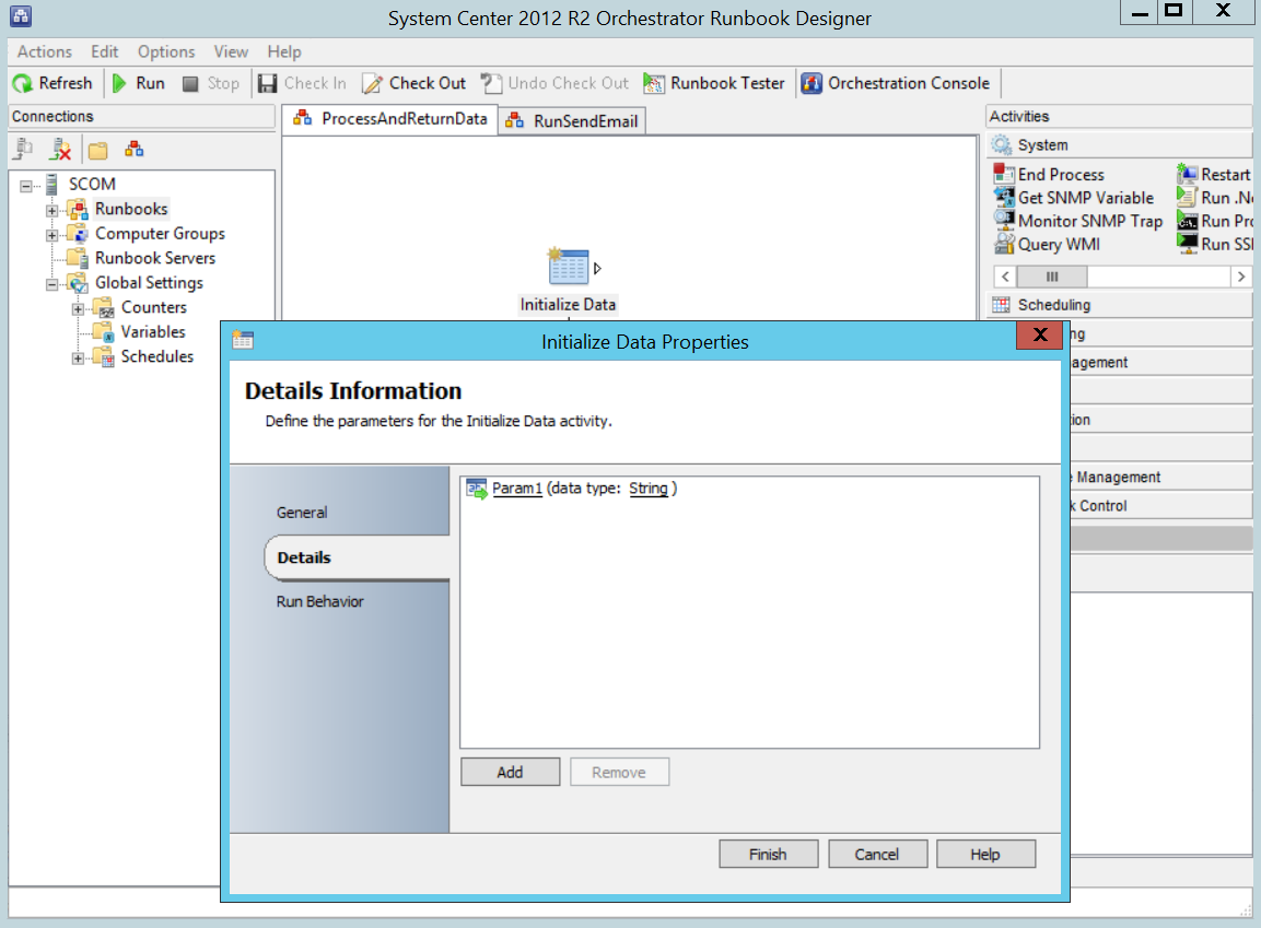 How to invoke System Center Orchestrator Runbooks from VConnect?