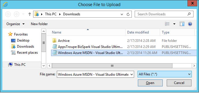 Azure Connect (Beta) for Windows Azure Pack